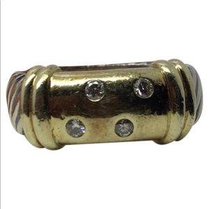David Yurman sterling silver 14k Diamond ring